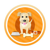 Hungry dog. About to eat a bowl of dog food. Concept in cartoon style Royalty Free Stock Photography