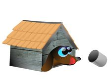 Hungry dog. Vector illustration of dog inside his house,drooling for food Royalty Free Stock Image