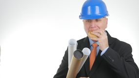 Hungry Engineer Image Eating Starved a Snack royalty free stock images