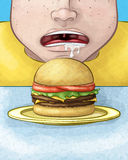 Hungry Face with Cheeseburger Royalty Free Stock Photos