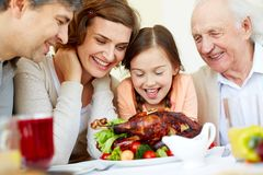 Hungry family Stock Photo