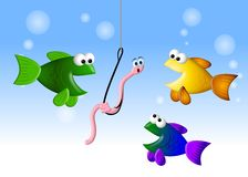 Hungry Fish and The Worm 2. An illustration featuring a cartoonish group of fish hungry for the worried worm on a hook Stock Photo