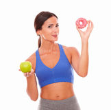 Hungry fit woman looking at you Royalty Free Stock Photo
