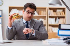 The hungry funny businessman eating junk food sandwich Stock Photos