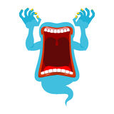 Hungry ghost. Scary spook. Horrible ghost frightening screams. P. Hasing blue monster with an open mouth. Wild howl Stock Photography
