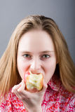Hungry girl Royalty Free Stock Photos