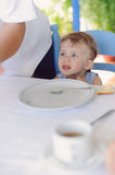 Hungry Girl in cafe Royalty Free Stock Photography