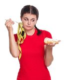 Hungry girl Royalty Free Stock Images