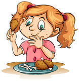 Hungry girl eating chicken royalty free illustration