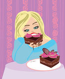 Hungry gluttonous woman eating pie. Vector Illustration Royalty Free Stock Image