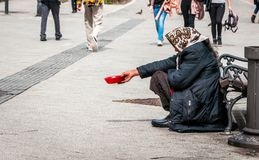 Hungry homeless beggar woman beg for money on the urban street in the city from people walking by, social documentary concept.  royalty free stock photography