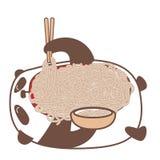 Hungry kawaii panda. Hungry kawaii panda laying down and eating noodles using sticks. Vector illustration royalty free illustration
