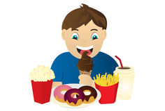 Hungry Kid. An illustration of a hungry kid eating snacks Royalty Free Stock Image