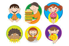 Hungry Kids. An illustration of a bunch of hungry kids eating snacks Stock Photos