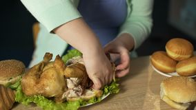 Hungry lady with extra weight eating fatty roast chicken, unhealthy junk food. Stock footage stock video