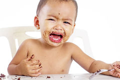 Hungry Little Boy Royalty Free Stock Photo