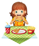 A hungry little girl eating. Illustration of a hungry little girl eating on a white background Royalty Free Stock Photos