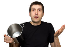 Hungry man with empty cooking pot Royalty Free Stock Images