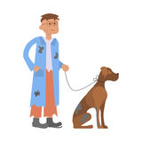 Hungry man with homeless dog. Tramp person. Hungry man with homeless dog in dirty rags.  character bum for infographic. Vector illustration eps10 Royalty Free Stock Images