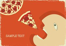 Hungry man and pizza.Vector poster Royalty Free Stock Photo