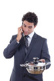 Hungry man seeks lunch via mobile phone Stock Image