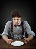 Hungry man. Slow restaurant service concept Royalty Free Stock Image