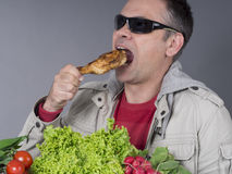 Hungry meat-eating man, no diet Royalty Free Stock Photography