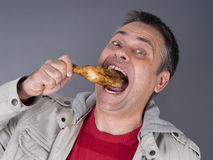 Hungry meat-eating man, no diet Stock Photo