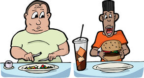 Hungry Men. Large man with small salad and skinny man with large burger and soda Royalty Free Stock Photo