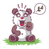Hungry panda asks to eat. royalty free illustration