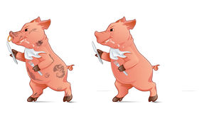 Hungry Pig. Holding fork and knife and running Royalty Free Stock Photos