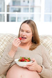 Hungry pregnant woman eating strawberries- Royalty Free Stock Photography