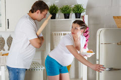 Hungry pregnant woman. Royalty Free Stock Images