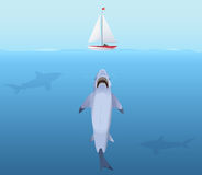 Hungry Shark with big jaw Attack yacht ship from the water. Royalty Free Stock Image