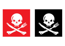 Hungry Skull. An illustration of a skull with a knife and a fork Stock Photo