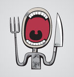 Hungry Throat. Grotesque hungry man with big throat and fork and knife instead of hands Royalty Free Stock Photos