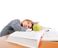 Hungry tired student Royalty Free Stock Photography