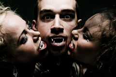 Hungry vampire family. Close up portrait of hungry vampire family Stock Photo