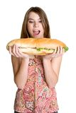 Hungry Woman. Eating sandwich food Stock Image