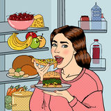 Hungry Woman Eating Unhealthy Food Near Fridge. Pop Art. Vector Stock Photo