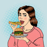Hungry Woman Eating Unhealthy Food. Pop Art. Vector Royalty Free Stock Image