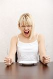 Hungry woman's screaming. Royalty Free Stock Photography