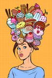 Hungry woman thoughts concept. Sweets baking birthday vector illustration