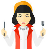 Hungry woman waiting for food Royalty Free Stock Images