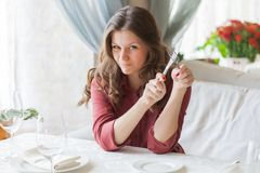Hungry woman Stock Photography