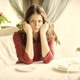 Hungry woman Royalty Free Stock Photos