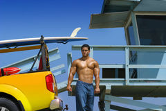 Hunk on beach Royalty Free Stock Photography