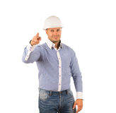 Hunk Engineer Pointing and Looking at Cam Royalty Free Stock Photos