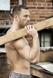 Hunky guy with lumber Royalty Free Stock Photo
