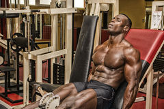 Hunky muscular black bodybuilder working out in gym Stock Images